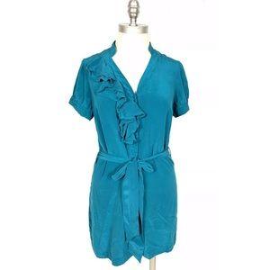 Tabitha Anthropologie Ruffle Silk Blouse Tunic 6